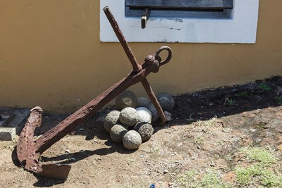 Africa, Mozambique, Maputo. Anchor and cannonballs at the Old Fort. Poster by Alida Latham / Danita Delimont for $100.00 CAD