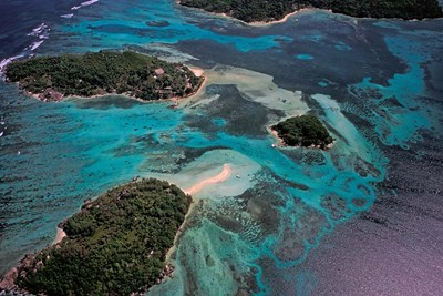 Aerial View of Ste Anne Marine National Park, Seychelles Poster by Nik Wheeler / Danita Delimont for $97.50 CAD