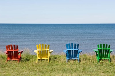 Beach Chairs on Prince Edward Island Poster by Keith & Rebecca Snell / Danita Delimont for $70.00 CAD