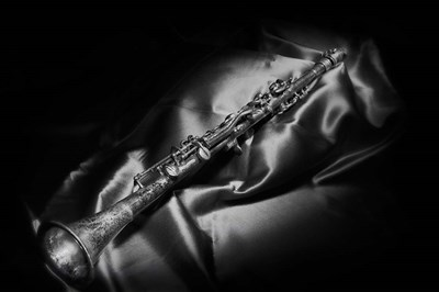Black And White Still-Life Image Of A Brass Clarinet Poster by Sheila Haddad / Danita Delimont for $60.00 CAD