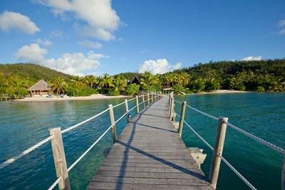 Pier at Likuliku Lagoon Resort, Malolo Island, Fiji Poster by Douglas Peebles / Danita Delimont for $43.75 CAD