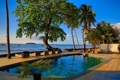 Pool side at Garden Island Resort, Taveuni, Fiji Poster by Douglas Peebles / Danita Delimont for $45.00 CAD