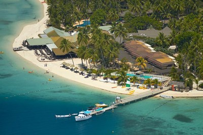 Aerial View of Plantation Island Resort, Malolo Lailai Island, Fiji Poster by David Wall / Danita Delimont for $40.00 CAD