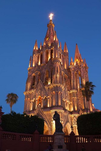 Mexico, San Miguel De Allende Cathedral Of San Miguel Archangel Lit Up At Night Poster by Brenda Tharp / Danita Delimont for $42.50 CAD
