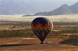 Aerial view of Hot air balloon landing, Namib Desert, Namibia
