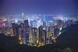 China, Hong Kong, Overview of City at Night