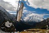 Prayer flags on ridge above Dole, peak of Ama Dablam, Nepa,