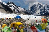 Tents of Mountaineers Scattered along Khumbu Glacier, Base Camp, Mt Everest