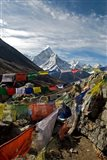 Prayer flags, Everest Base Camp Trail, peak of Ama Dablam, Nepal