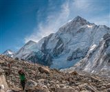 Trekkers and porters on a trail, Khumbu Valley, Nepal