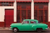 Cuba, Havana Green Car, Red Building On The Streets