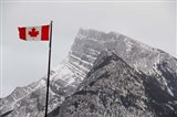 Canada, Alberta, Banff Mountain view with flag - your walls, your style!