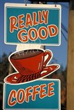 Coffee Sign on Vancouver Island, British Columbia, Canada