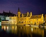 The Rozenhoedkaai at Night, Bruges, Belgium