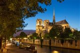 Twilight Along River Seine Below Cathedral Notre Dame, Paris, France
