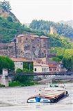 Chateau de Tournon, River Rhone and Pedestrian Bridge M Seguin, Tournon-sur-Rhone, Ardeche, France