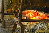 Fireplace with a Burning Log on a Truffle Farm
