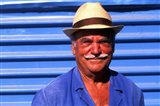 Close Up of Native Man with Blue Wall, Athens, Greece