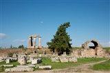 Greece, Corinth Carved stone rubble and the Doric Temple of Apollo