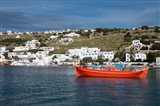 Greece, Cyclades, Mykonos, Hora Harbor view with Greek fishing boat