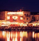 Harborside Restaurants at Night, Old Town, Rethymnon, Western Crete, Greece