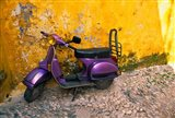 Vespa and Yellow Wall in Old Town, Rhodes, Greece