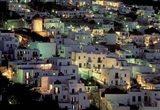 Hilltop Buildings at Night, Mykonos, Cyclades Islands, Greece