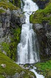 Iceland, Westfjords, Jokulflrdir, Lonagfjordur Nature Reserve Remote Fjord Waterfall