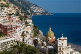 View Along The Amalfi Coast Of The Hillside Town Of Positano, Campania Italy