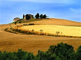 Italy, Tuscany, Farmhouse And Fields