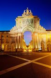 Portugal, Lisbon, Rua Augusta, Commerce Square With The Night Lights Of The City