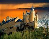 Alcazar castle at sunset, Segovia, Spain