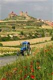 Blue tractor on rural road, San Vicente de la Sonsierra Village, La Rioja, Spain