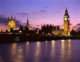 Big Ben, Houses of Parliament and the River Thames at Dusk, London, England