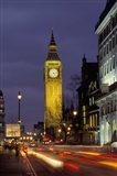 Big Ben at night with traffic, London, England
