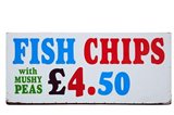 Fish and Chips with Mushy Peas sign, England, United Kingdom