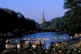 Holy Trinity Church and Barges on River Avon, Stratford-on-Avon, England