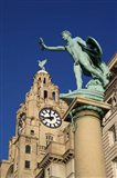 Liver Building and Statue, Liverpool, Merseyside, England