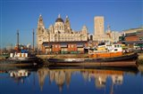 Liver Building and Tug Boats from Albert Dock, Liverpool, Merseyside, England
