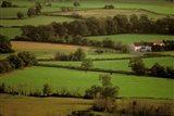 View of Farmlands from Glastonbury Tor, Glastonbury, Somerset, England
