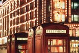 Lit Telephone booth at Harrods, Knightsbridge, London, England