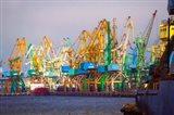 Industry cranes in harbor, Klaipeda, Lithuania