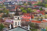 Cityscape dominated by Cathedral Bell Tower, Vilnius, Lithuania