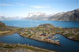 Greenland, Kujalleq, Aappilattoq, View Of Village With Scenic Mountains And Water