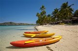 Kayaks on the beach, Plantation Island Resort, Malolo Lailai Island, Mamanuca Islands, Fiji