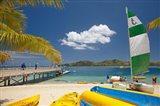Jetty, boats and hobie cat, Plantation Island Resort, Malolo Lailai Island, Mamanuca Islands, Fiji