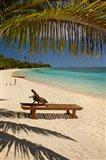Beach, palm trees and lounger, Plantation Island Resort, Fiji