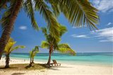 Beach, palm trees and lounger, Plantation Island Resort, Malolo Lailai Island, Mamanuca Islands, Fiji