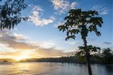 Sunset over the beach of resort, Nacula Island, Yasawa, Fiji, South Pacific