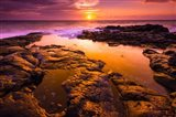 Sunset And Tide Pool Above The Pacific, Kailua-Kona, Hawaii